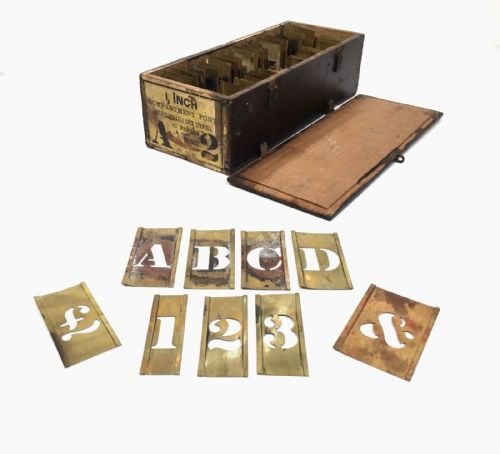 Antique Brass Compartment Font Stencil Set In Original Wooden Box / Case